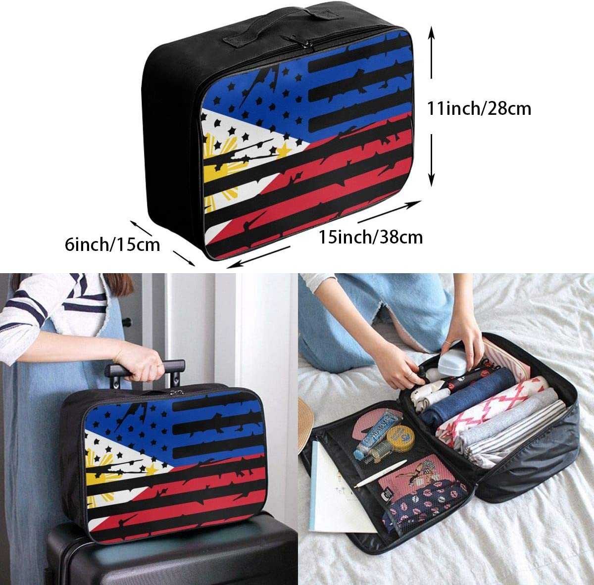 Philippines American Flag Overnight Carry On Luggage Waterproof Fashion Travel Bag Lightweight Suitcases