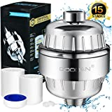 Goodan Shower Filter, 15-Stage High Output Showerhead Water Purifier Hard Water Softener with Two Replacement Filtration Cartridges, Remove Rust, Heavy metal, Chlorine, Protect Your Skin and Hair