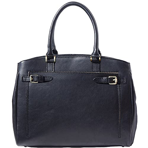 8a990a9b73af Shoulder tote bag in smooth leather 8501 (Black)  Amazon.co.uk ...