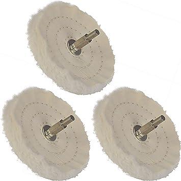 3 pieza Disco pulidor algodón 100 mm con 6,35 mm vástago de ...