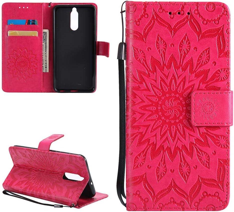 Leather Case for Huawei Mate 10 Lite Embossed Flower Mandala ...