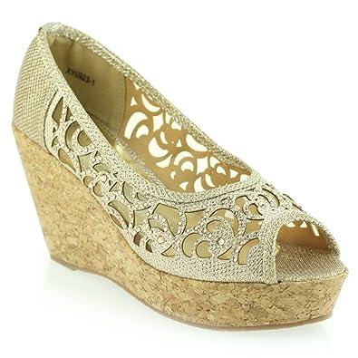 Frau Damen Abend Hochzeit Party Peep Toe Diamant Keilabsatz Sandalen  Champagner Schuhe Größe 41
