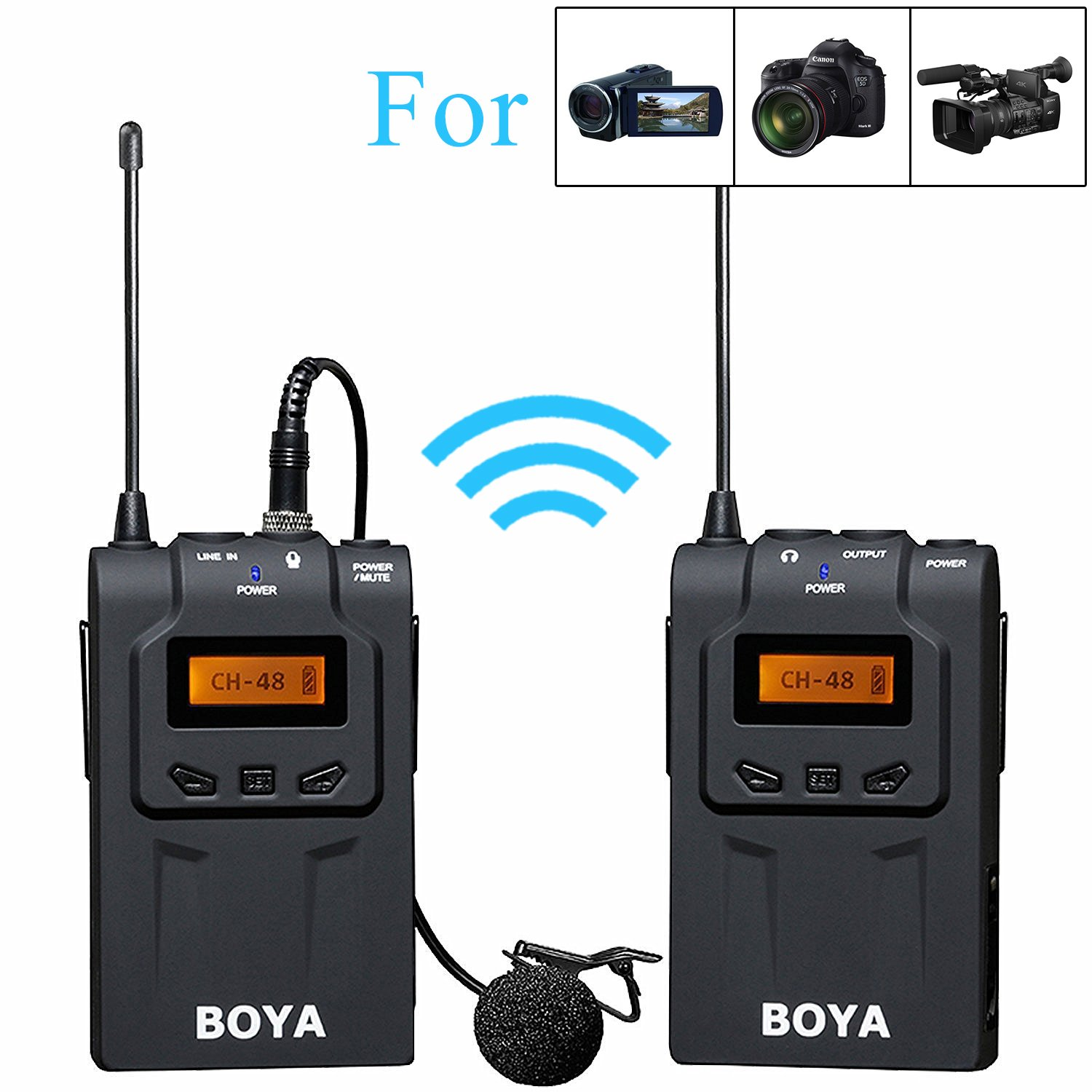 BOYA BY-WM24G 2.4GHz Wireless Lavalier Microphone System with Real-time Monitor for Canon 6D 600D 5D2 5D3 Nikon D800 D3300 DSLR Cameras Sony A9 Panasonic Camcorders BY-WM5