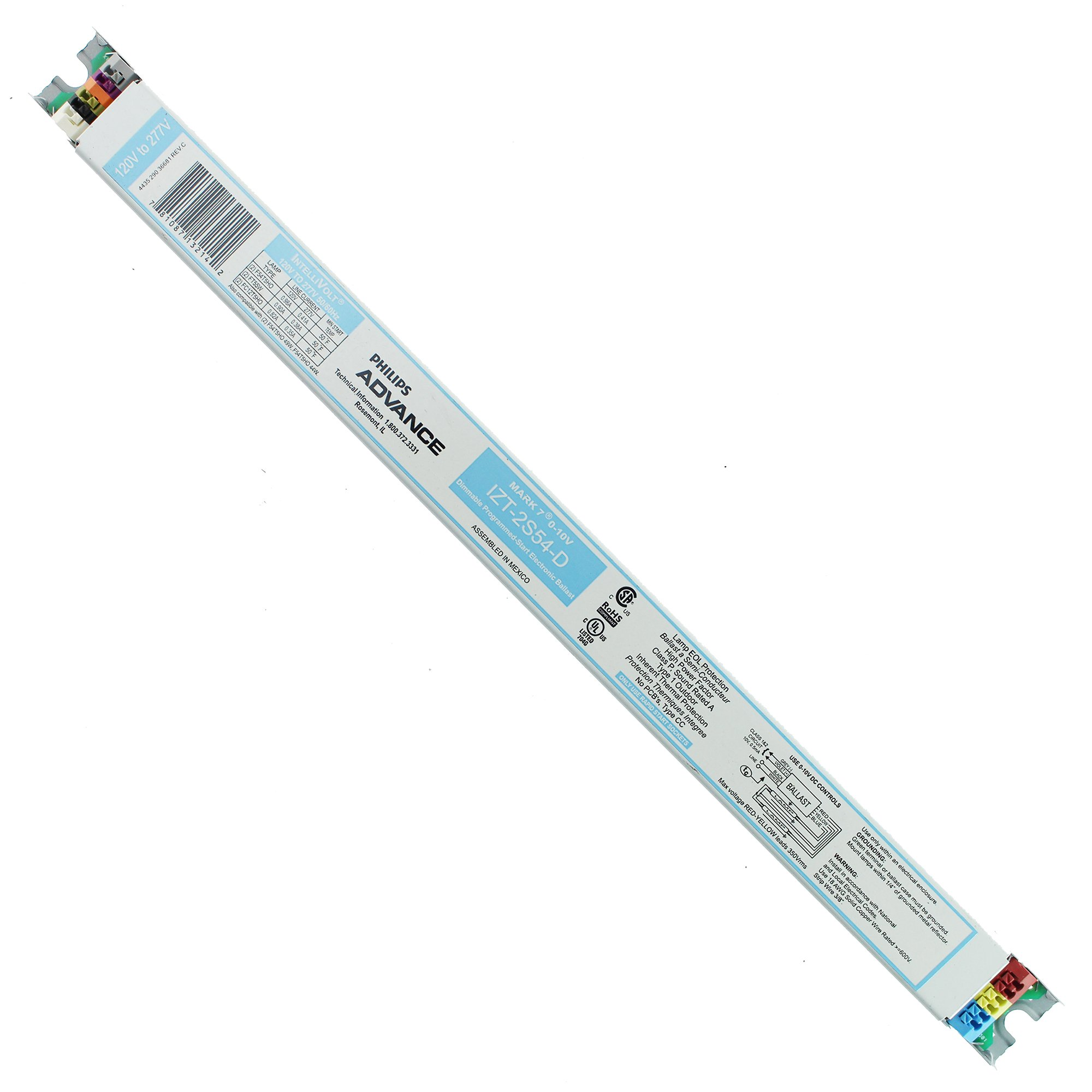 Advance Mark 7 0-10V IZT2S54D35M - 2 Lamp - F54T5/HO - 120/277 Volt - Dimming - 1.0 Ballast Factor