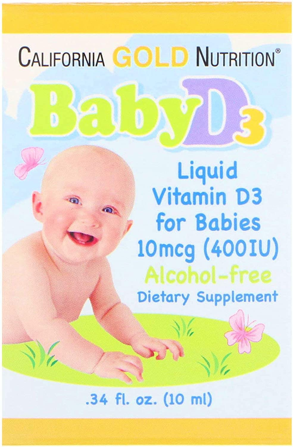 California Gold Nutrition, (2 Pack) Baby Vitamin D3 Drops, 400 IU. 34 fl oz (10 ml), Alcohol-Free, Gluten-Free, Soy-Free, No GMOs, CGN