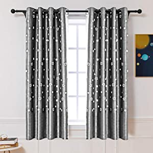 ARTBECK Glow in The Dark Star Blackout Curtains for Kids Room Decor, Night Sky Twinkle Star Thermal Insulated Grommet Bedroom Drapes for Living Room, Girls, Boys 2 PCS (52W x 84L, Grey)