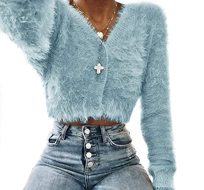 Mujeres Sweater Chaqueta Mohair Suéter Corto Botón Con Colores Lisos qwrq0S8x