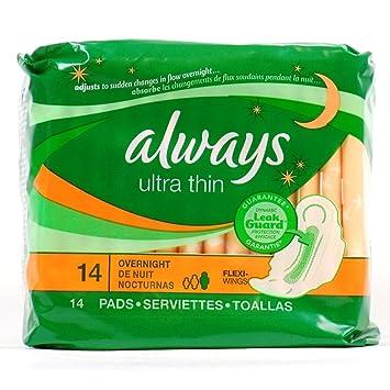 Amazon.com : Always Ultra-Thin Overnite Pad 14 count : Sanitary Napkins : Beauty