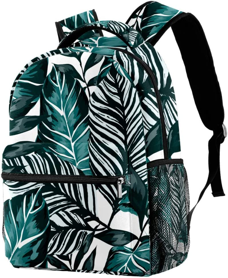School Backpacks 16 Inch Student Bookbag Travel Basic Daypack Laptop Bag Watercolor Tropical Leaves