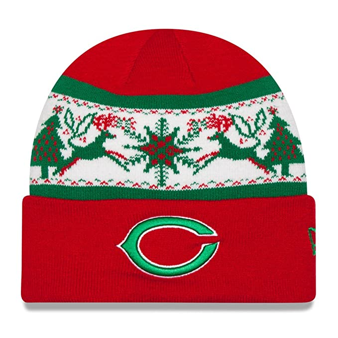 wholesale dealer 25776 9538e Image Unavailable. Image not available for. Color  NEW ERA NFL Knit Fillz  Chicago Bears Beanie Christmas Red Headwear HAT