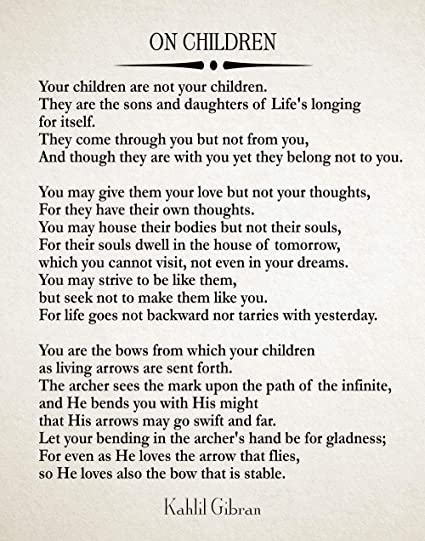 Amazon com: Wallbuddy On Children Poem by Kahlil Gibran