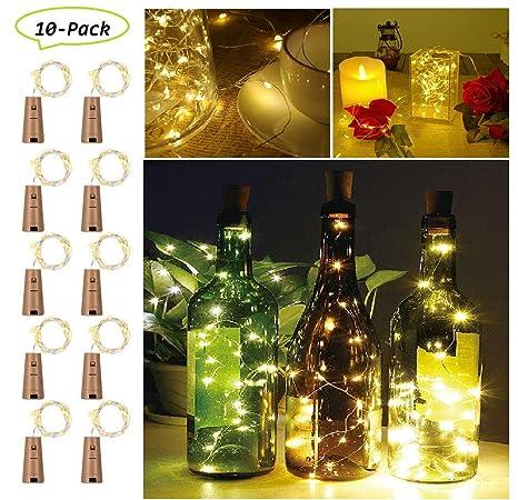 [10 unidades] 2 m 20 led luz botellas, botellas de vino luces alambre de cobre Luz Cadenas Estrella Luz con corcho para botella DIY, boda, fiesta, ...