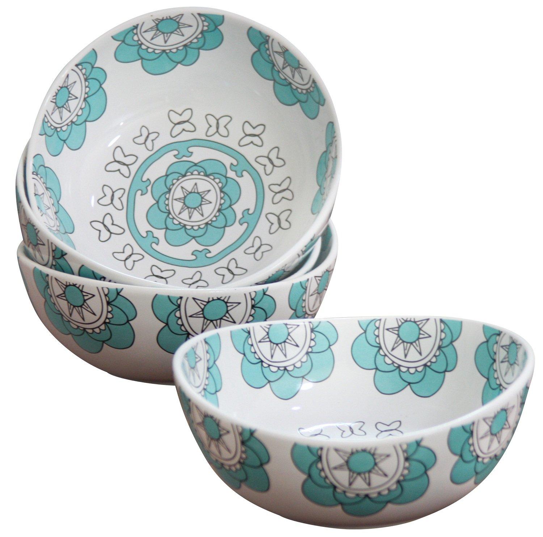Porcelain Bowl Set 4 for Soup Cereal Rice, Hand Made Floral Pattern Decorative Bowls, Mint Blue