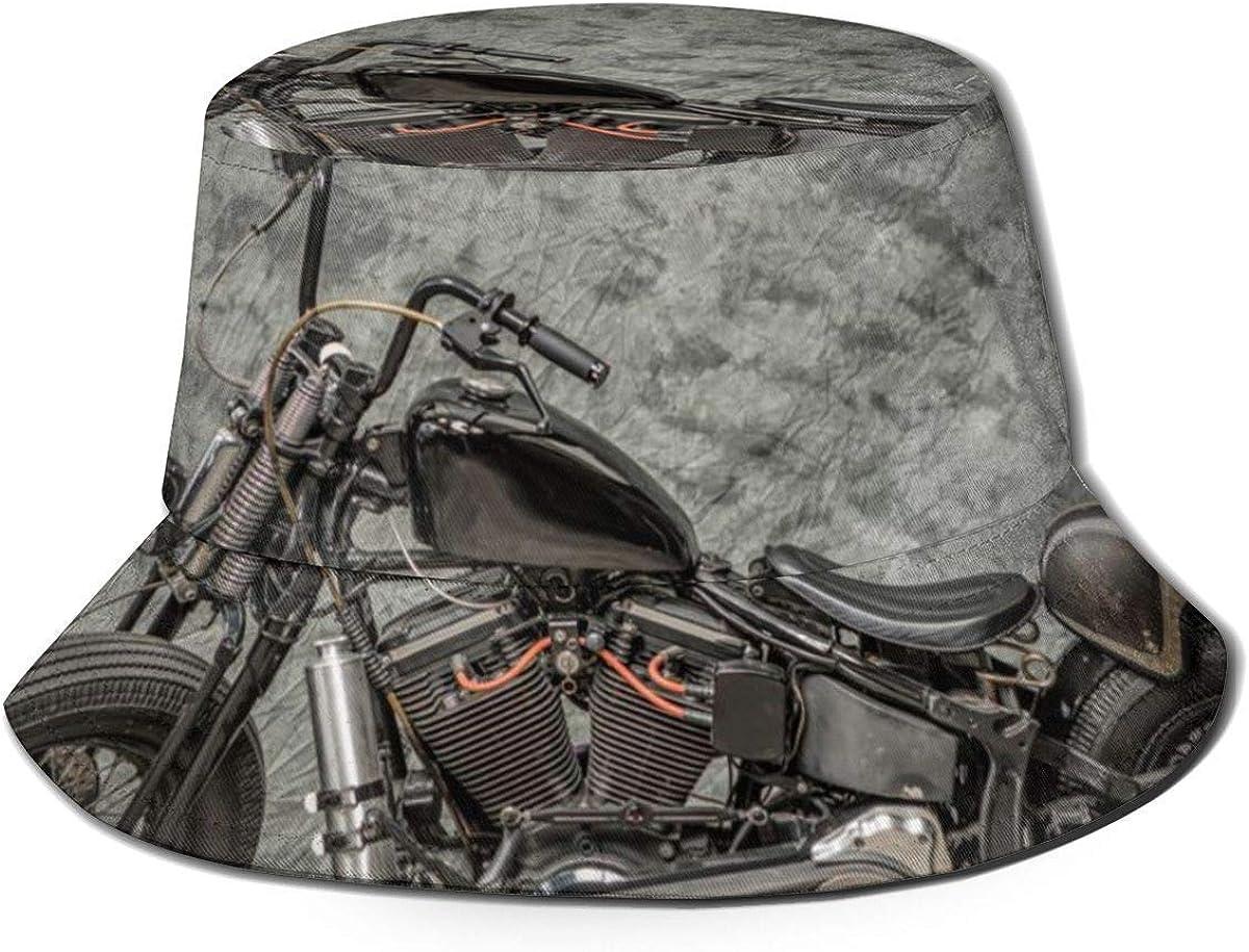 color negro sombrero de pescador para hombres y mujeres Sombrero de cubo plegable reversible para motocicleta Harley Davidson