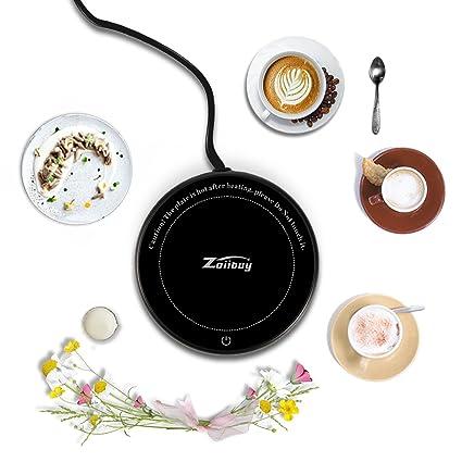 Zoiibuy Taza Calentador de Café Calentador de Taza y Taza Térmica de Vidrio Impermeable con Placa Calefactora Eléctrica: Amazon.es: Hogar