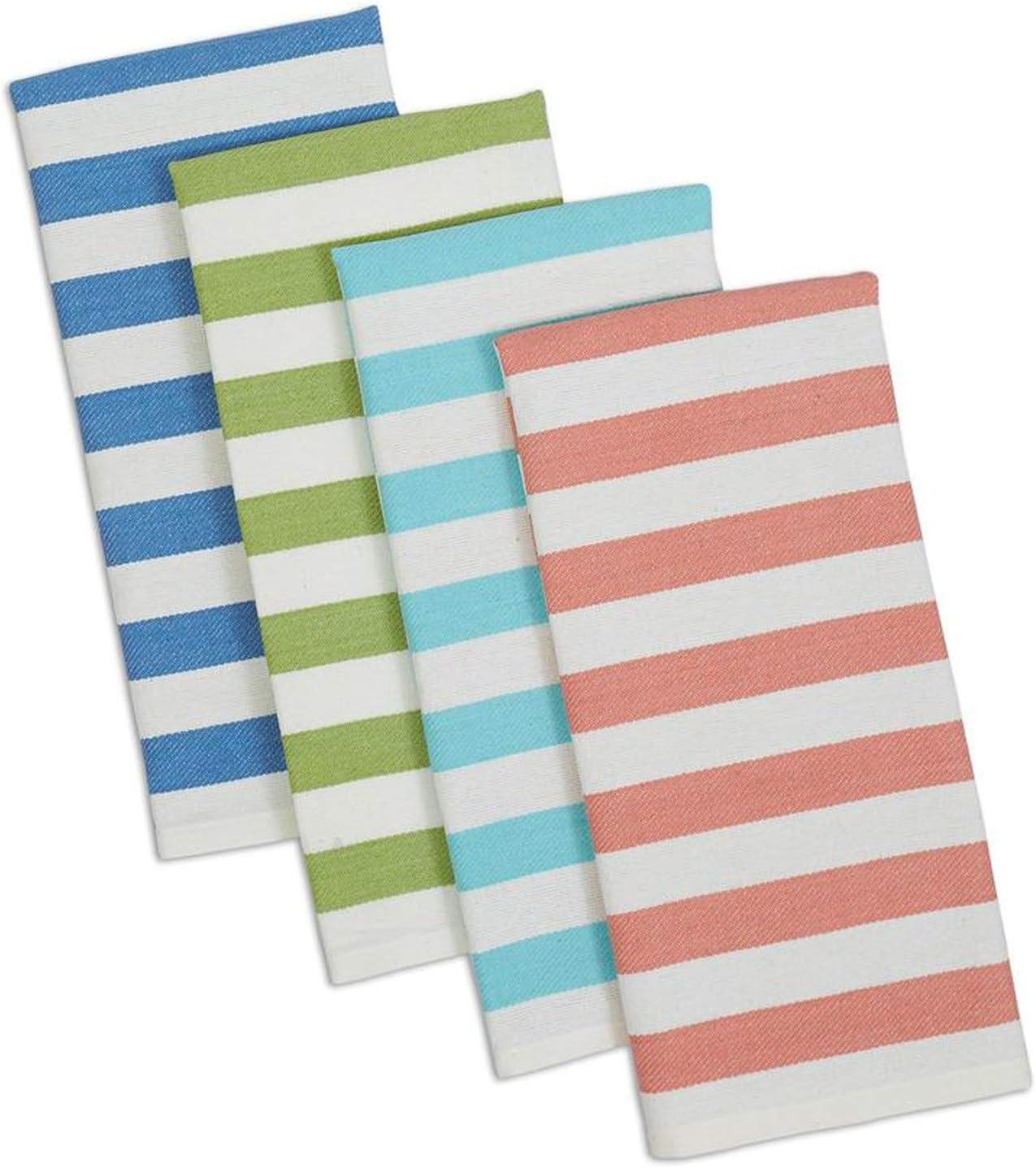 Design Imports Seashore Table Linens, 18-Inch by 28-Inch Dishtowel Gift Set, Set of 4, Cabana Stripe Heavyweight, 1 Blue, 1 Green, 1 Aqua and 1 Coral