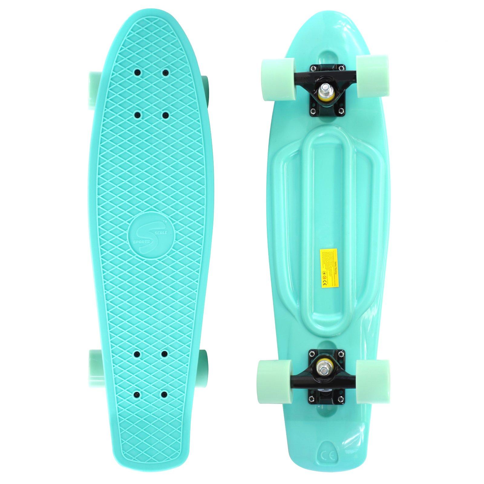Scale Sports 27'' Skateboard Complete Pastel Street Retro Cruiser Classic Plastic Deck Mint