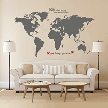 Amazon timber artbox huge world map wall decal with quotes timber artbox huge world map wall decal with quotes best for adventurers and travellers gumiabroncs Images