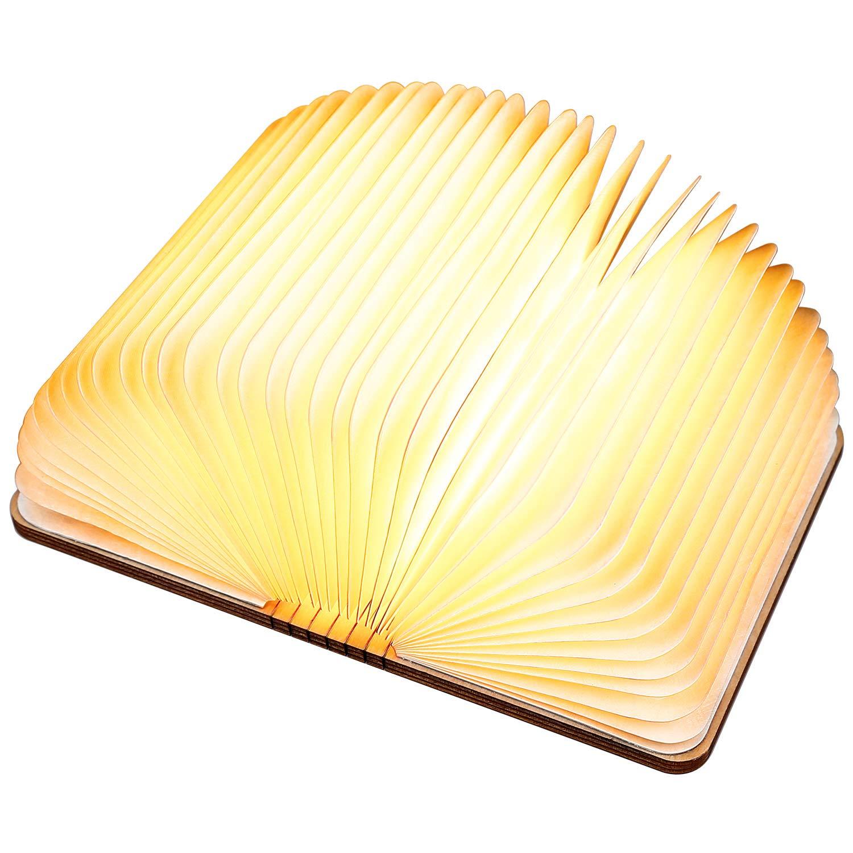 Led Wooden Folding Led Book Shape Light, Anlising Led Book Light Magnetic USB Rechargeable Wireless Book Shape Light Table Light for Decor, Novelty Gift for Birthday, Valentine, Christmas(Warm White)