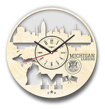 Michigan Lansing Estados Unidos Skyline – Reloj de pared de madera – perfecto y muy bien