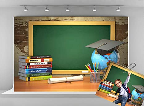 73e5ff595f6f Amazon.com : Kate 7x5ft Study Photography Backdrops Green Chalkboard ...