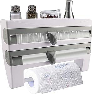 Paper Towels Wall Mounted Rolls Holder Tin foil Cling Film Cutter Dispenser| Easy One-Handed Tear| Storage Self Holds Spice Bottles Glass Jars Oils for Kitchen Cabinet Bathroom Pantry Garage Laundry