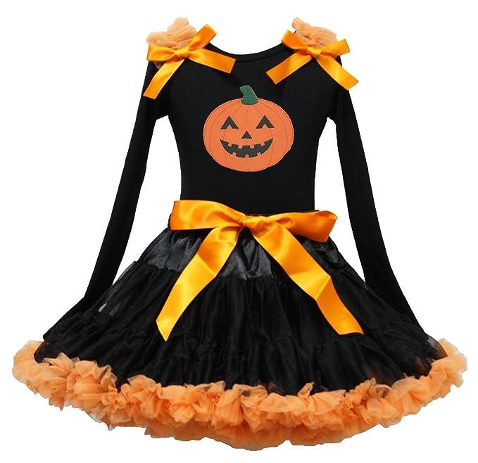 Vestido de Halloween calabaza negro camisa de manga larga Negro Naranja Falda Outfit 1 - 8Y: Amazon.es: Ropa y accesorios