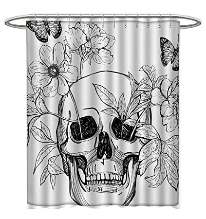 Anhuthree Day Of The Dead Shower Curtains Mildew Resistant Skull With Flower Blooms And Butterflies Vintage