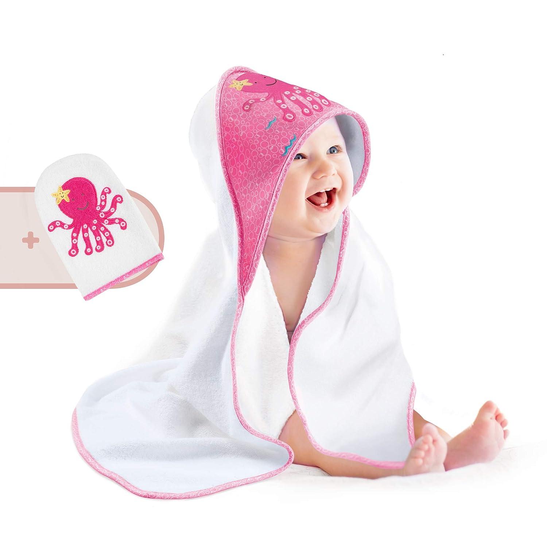 perfektes Geschenk zur Geburt Pigubear/® Premium Baby Kapuzenhandtuch und Waschlappen Set hochwertig in rosa bestickt f/ür M/ädchen 100/% Baumwolle /ÖKOTEX