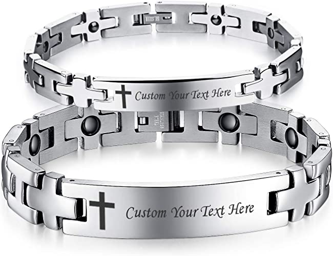 VNOX Bible Verse Philippians 4:13 Black Stainless Steel 4 in 1 Magnetic Therapy Health Care Adjustble Bracelet