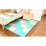 Menu Life Doux Tapis de jeu pour enfants Pur Couleur EVA Dalles Mousses Tapis de puzzle Tapis de sol (24 Pièces, Beige & Bleu Ciel & Vert-Bleu)