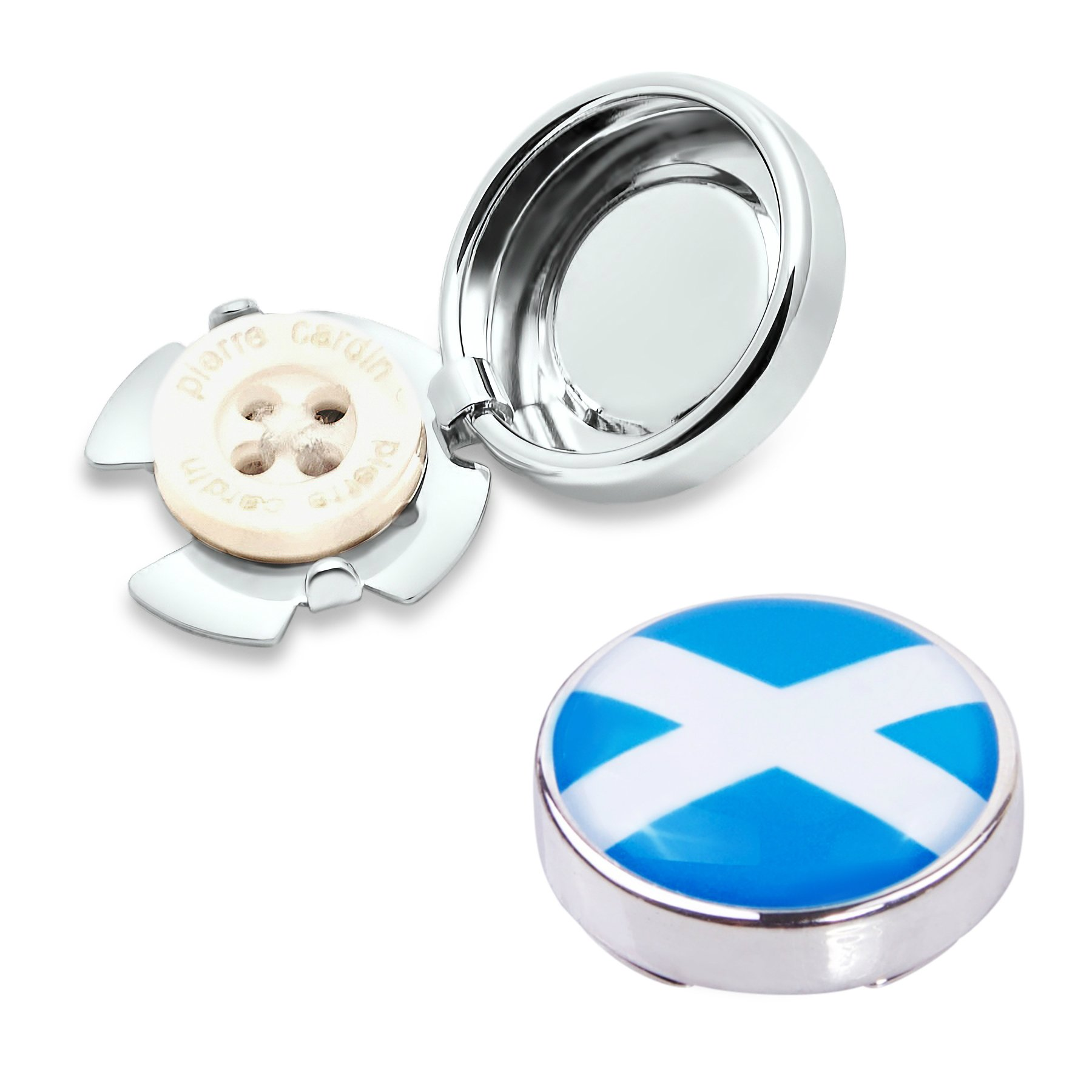 Scotland Flag Button Covers (one Pair)