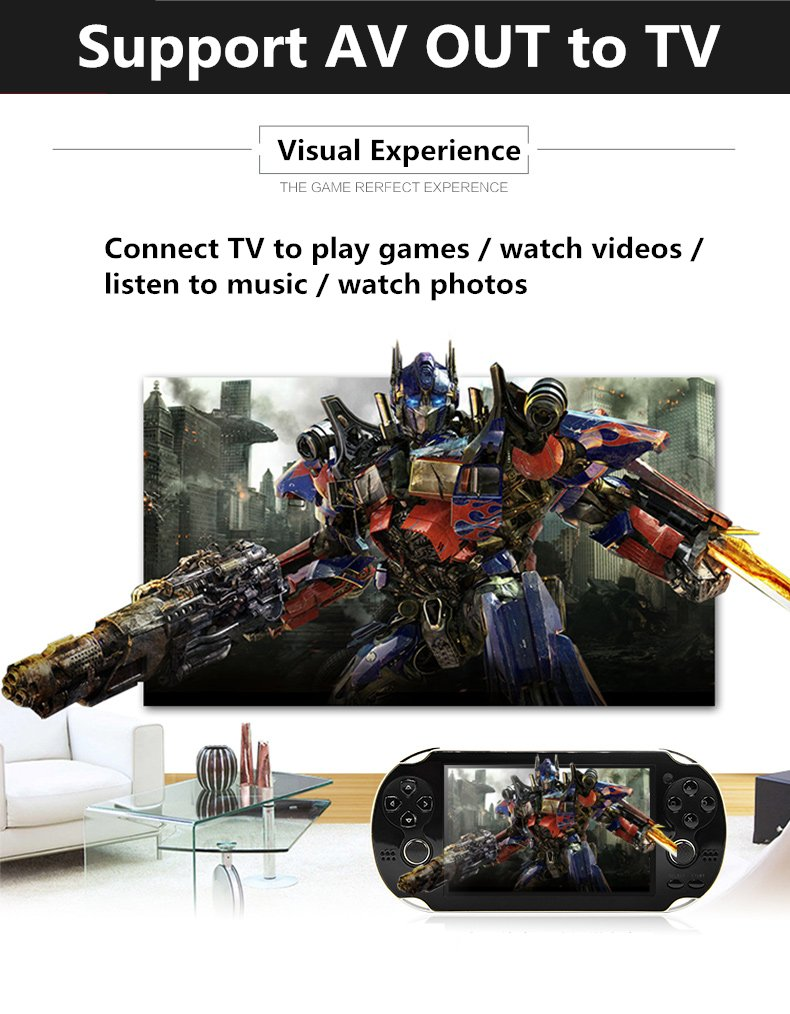 CZT 4.3 inch 8GB Double Joystick Handheld Game Console Build in 1200 Games Video Game Console Support Arcade/neogeo/CPS/FC/SFC/GB/GBC/GBA/SMC/SMD/SEGA Games MP4 Player (Black) by CZT (Image #3)