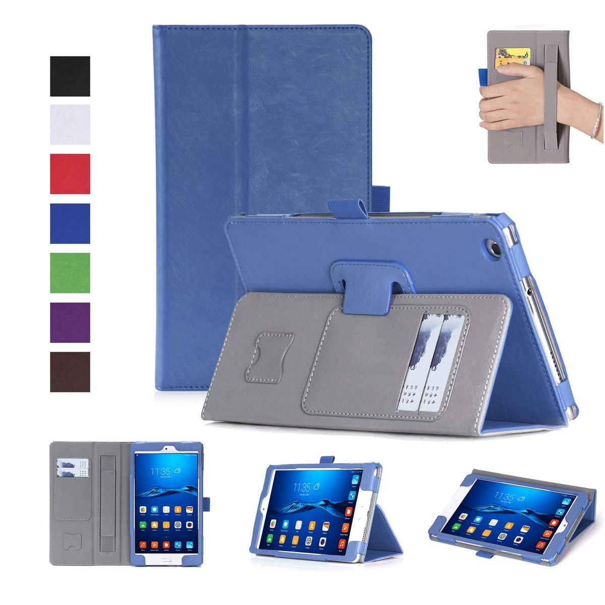 FugouSell Huawei MediaPad M3 Lite 8.0ケース プレミアムPUレザー[フリップスタンド] スリム財布ケース フルボディ保護カバー Huawei MediaPad M3 Lite 8.0用 (ブルー)   B07LCGCYBL