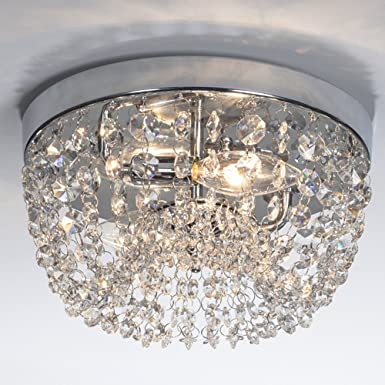Saint Mossi Modern K9 Crystal Spiral Raindrop Chandelier Lighting Flush Mount LED Ceiling Light Fixture Pendant Lamp for Dining Room Bathroom Bedroom Livingroom 5GU10 Bulbs Required H39 X W16