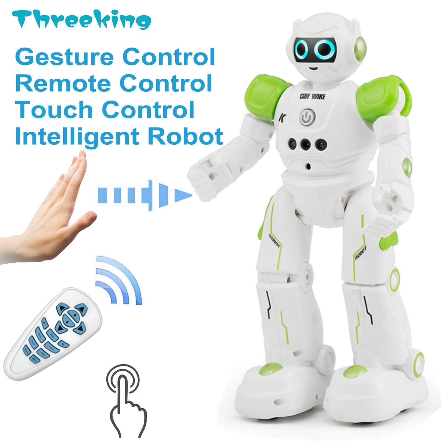 Threeking Smart Robot Toys Gesture Control Remote Control Robot JJRC Robot Gift for Boys Girls Kid's Companion:Game Learning Music Dance...Rechargeable Rc Robot Toy - Green