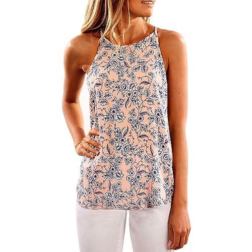 Mujeres Verano Camiseta sin mangas de Flores de Tops Impreso Superior Casual Blusa Camiseta tirantes...