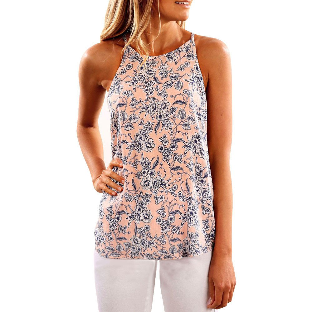 Roemdia Women Sleeveless Flower Printed Tank Top Casual Blouse Vest T Shirt Pink