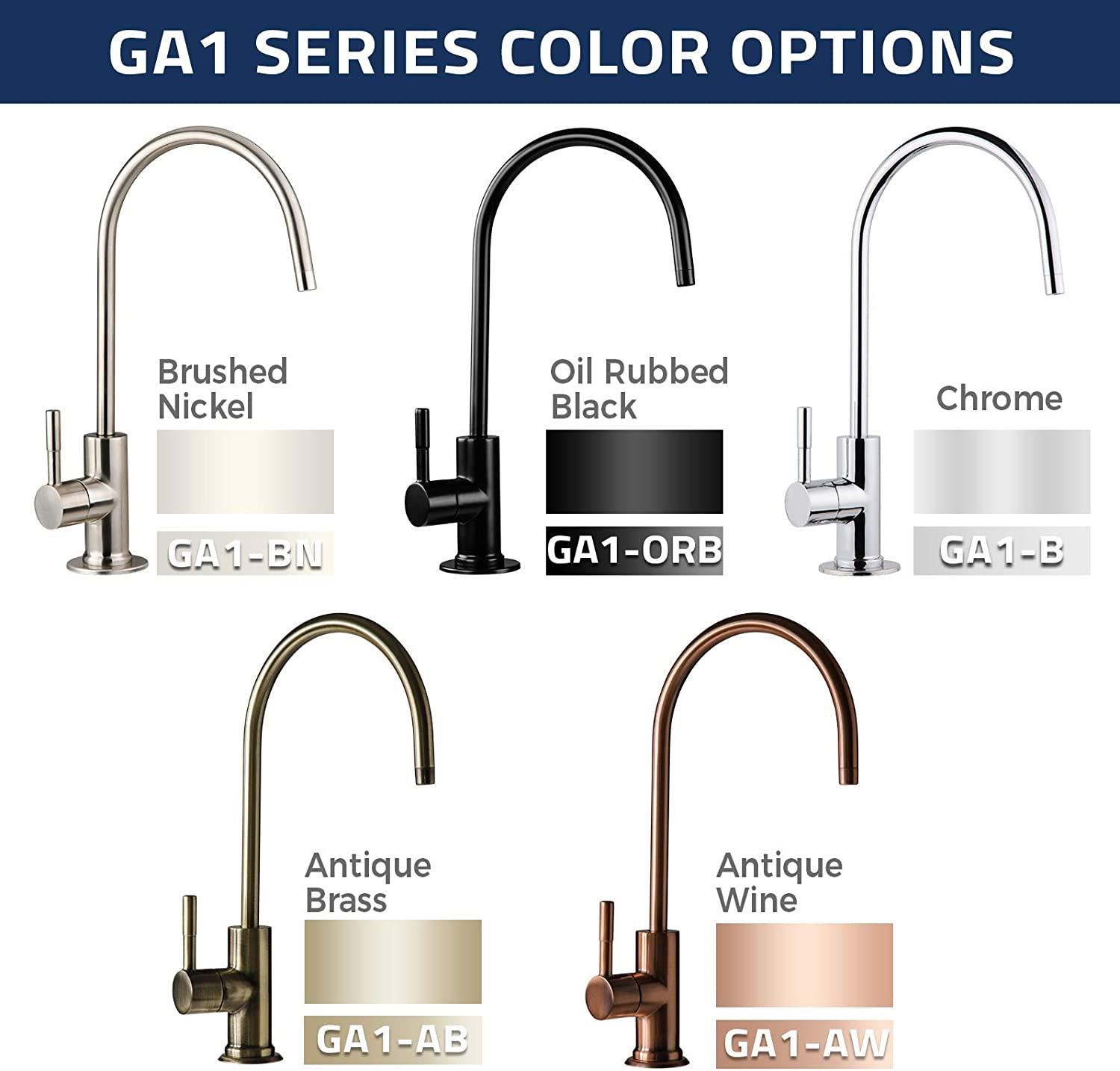 iSpring GA1-BN RO Faucet 5 color and finish options