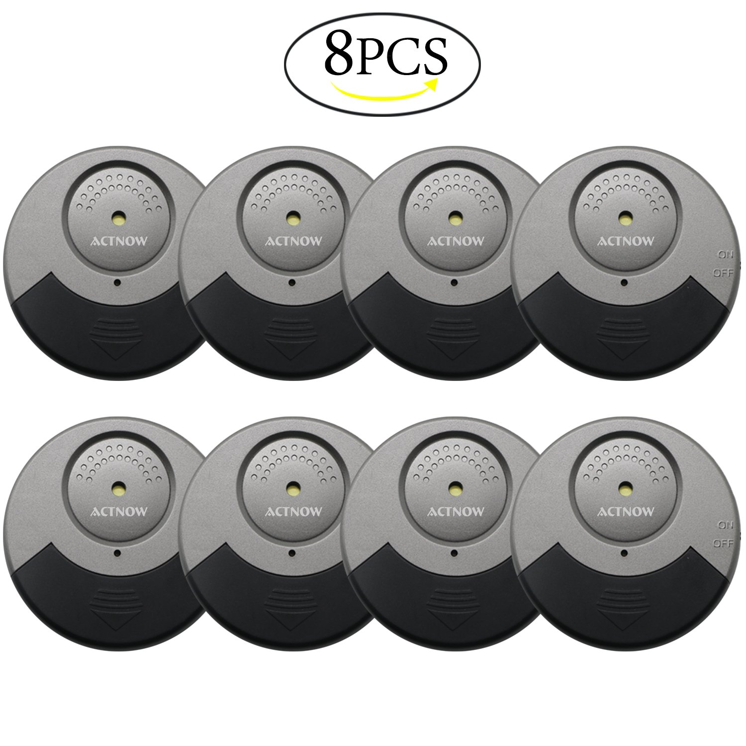 ACTNOW Security Sensor Alarm Black/Grey Ultra-Slim Window Alarm with Loud 100DB Alarm and Vibration Sensors - Modern & Ultra-Thin Design Compatible with Virtually Any Window(8 pack)