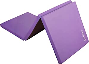 HemingWeigh 1.5 Inch Extra Thick Exercise Mat, Gym Mats for Home Workout, Tumbling Mat for Kids Gymnastics Equipment, Folding Mat for Martial Arts, 3 Fold, Purple