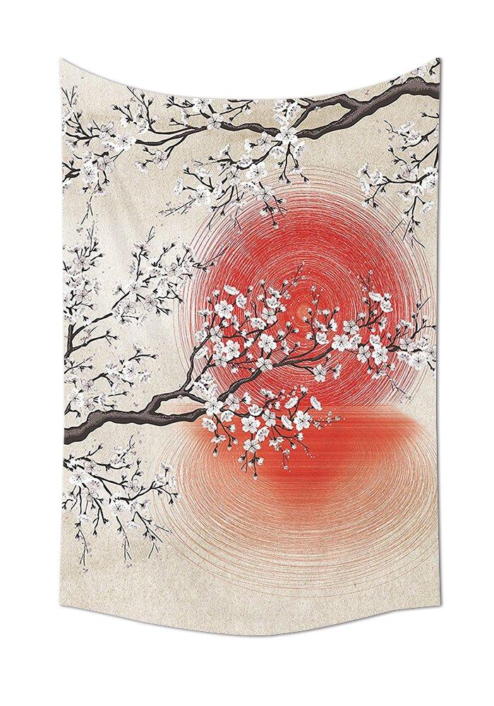 Cherry Blossom Sakura branches Sun giapponese e riflessione Shadow design Patterns Cream Pearl Wall Decor soggiorno camera da letto arazzo da parete beige marrone rosso bianco, Multicolor, 8W By 10L Inch iPrint GTS63003357K21xG26