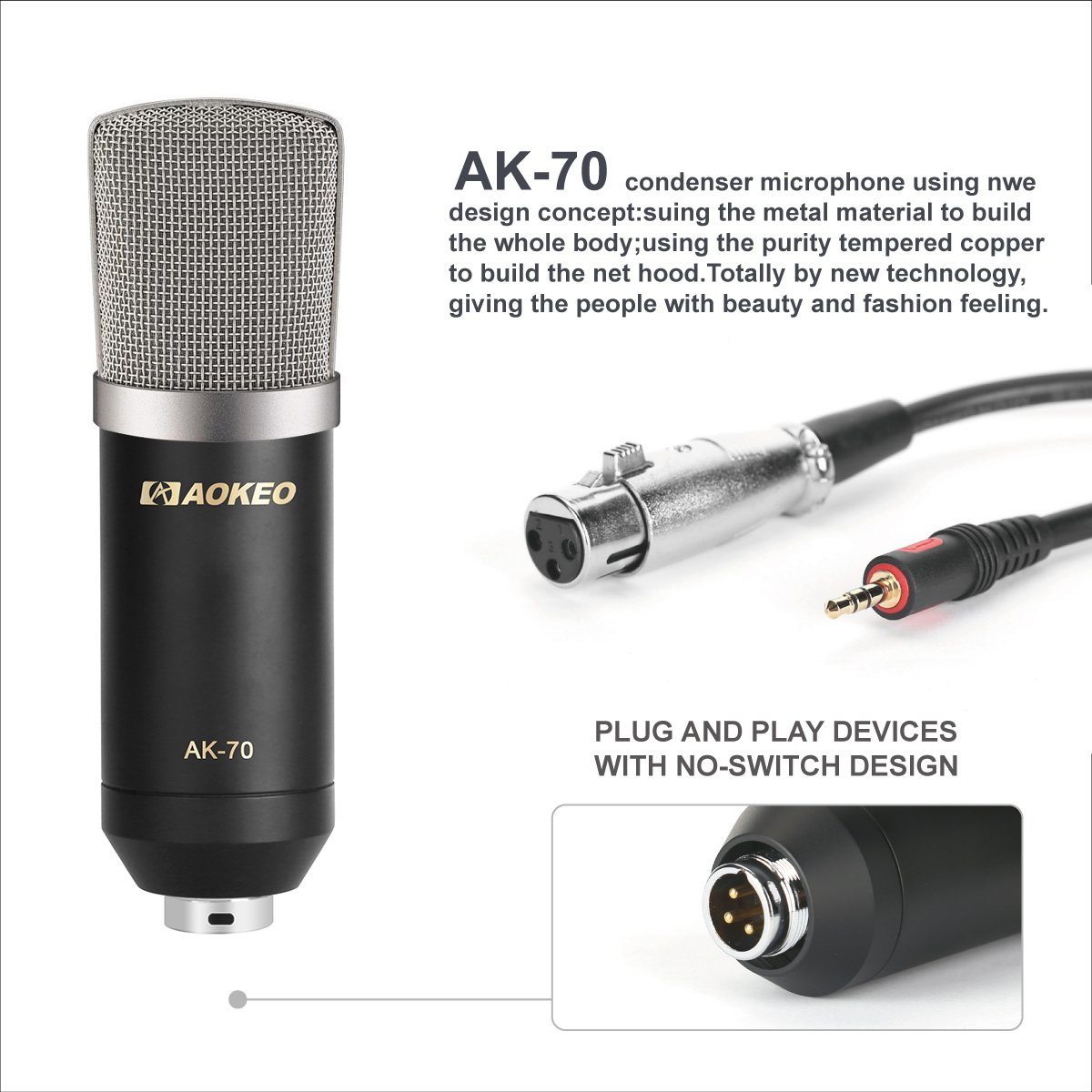 Aokeo AK-70 Professional Studio Live Stream Broadcasting Recording Condenser Microphone With AK-35 Suspension Scissor Arm Stand, Shock Mount, Pop Filter, USB Sound Card and Mounting Clamp by aokeo