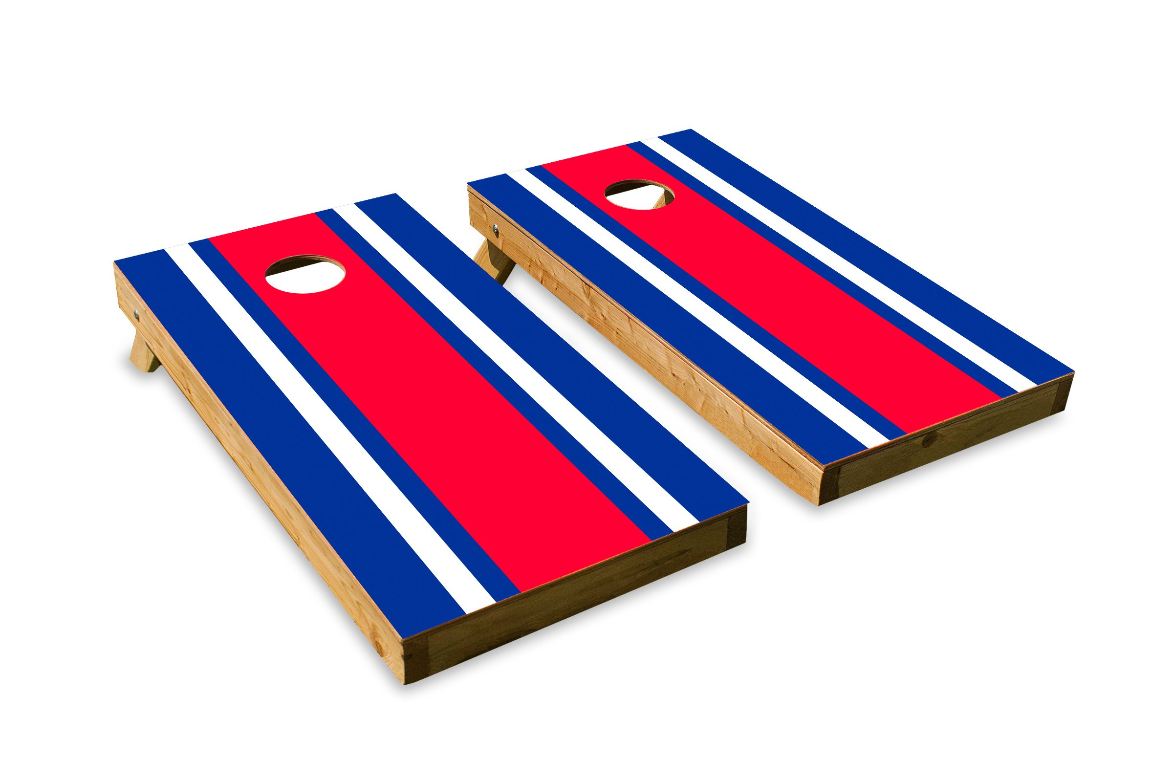Cornhole Crew Classic Stripe Edge - White, Blue ACA Regulation Size Cornhole Board Set