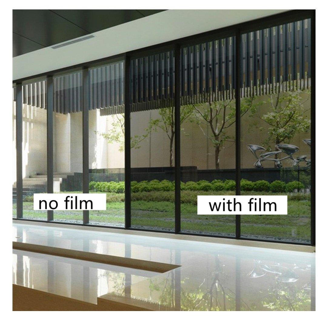Yzakka Light Filtering Window Film Anti UV No Glue Sun Control Heat Control Residential Window Films for Glass Self Adhesive for Home Bedroom Bathroom Kitchen Office Dark, 27.6-Inch by 16.4-Feet by Yzakka (Image #4)