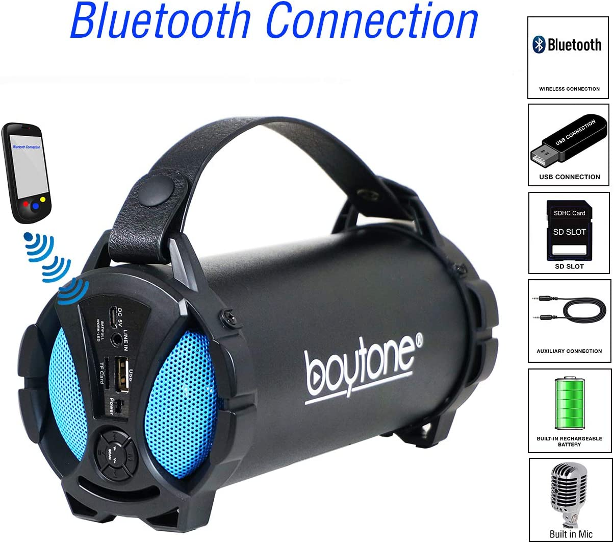 FM Radio AUX USB Charger Boytone BT-38BL Portable Bluetooth Indoor//Outdoor Speaker 2.1 Hi-Fi Cylinder Loud Speaker with Built-in 2x3 Sub and SD Card USB Built in Rechargeable Battery