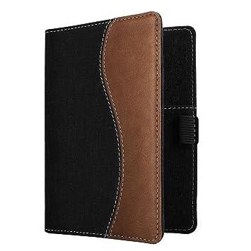 MoKo RFID Bloqueo Billetera, Carteras Funda de Pasaporte Tarjetas de Crédito Cubierta Multiuso de Cuero Imitado - Denim Negro & Marrón