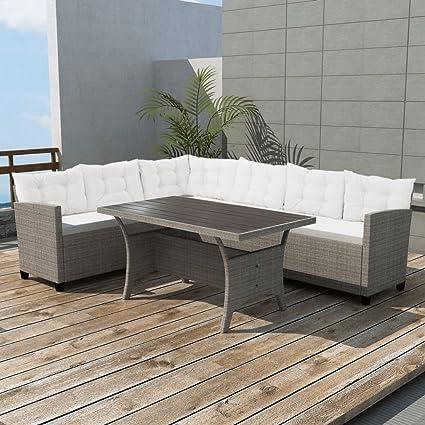 Amazon.com : Festnight 3 Piece Wicker Patio Garden Corner Sofa Set ...
