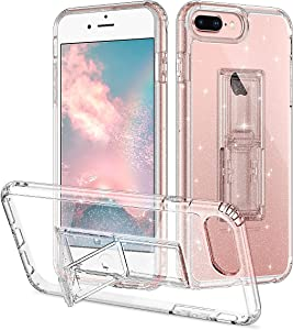 Casetego for iPhone 8 Plus/7 Plus/6 Plus Case with Kickstand,Crystal Shiny Shockproof Protective Anti-Scratch Soft TPU Bumper +Hard PC Case Cover for Apple iPhone 8 Plus/7 Plus/6 Plus,Glitter
