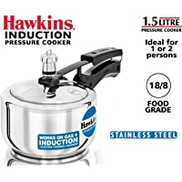 Hawkins Stainless Steel Pressure Cooker, 1.5 litres, Silver (HSS15)